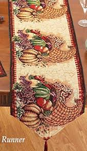 autumn harvest table linens fall thanksgiving autumn harvest cornucopia tapestry table runner