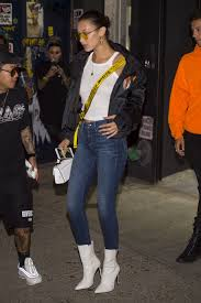 tattoo bella nyc hadid go to the bang bang tattoo shop to get a tattoo on her left arm