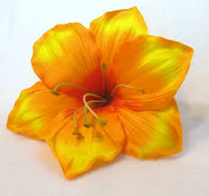 amaryllis flower yellow orange amaryllis flower hair clip 6 inch