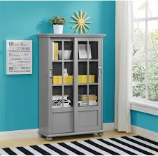 furniture soft grey bookcase with sliding glass door combine with