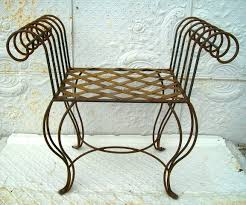 wrought iron curl arm bench vanity seating