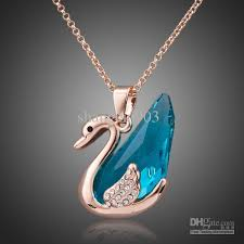 blue crystal necklace pendant images Fashion jewelry amazing blue crystal swan pendant with cc gold jpg