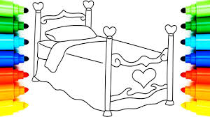 girls bed coloring pages l how to draw bed animation learning