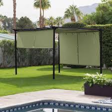 pergola canopy gazebo retractable shade pool patio deck steel
