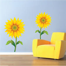 wall sticker sunflowers project for awesome sunflower wall decor