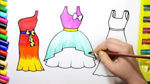 draw color paint barbie pretty dresses coloring learn