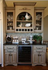 Glass Upper Cabinets Chic Built In Kitchen Buffet Features Double Door Kitchen Cabinets
