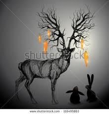 deer antler like tree realistic sketch stock vector 81930100