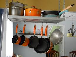 stainless steel wire hanging pots and pans rack storage and