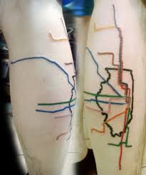 Chicago El Map by Flesh Tattoo Train Map And Map Tattoos On Pinterest Regarding