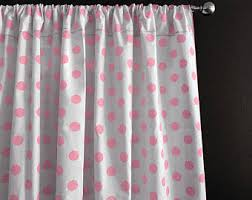 White With Pink Polka Dot Curtains Polka Dot Curtain Etsy