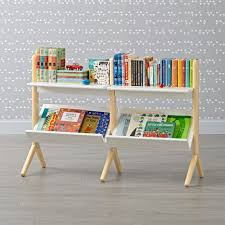 Kid Playroom Furniture Danish Modern White U0026 Natural Wide Bookcase Wide Bookcase Danish