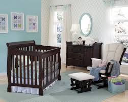Wood Convertible Cribs Awesome Chocolate Cherry Wood Convertible Crib Light Blue Wall