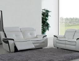 canapé 3 places cuir blanc canapé 3 places relax coloris en cuir blanc et noir detroit hcommehome