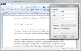 dragon command to set normal spacing in wordpad ms word u0026 ms