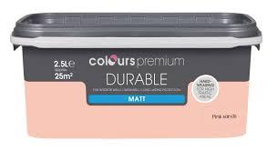 B Q Paint Colour Chart Bedrooms Colours Durable Pink Sands Matt Emulsion Paint 2 5l Departments