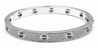 white gold crystal bracelet images Cartier love all diamond and ceramic white gold bangle bracelet jpg