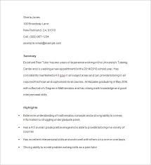 Examples Of Resumes Templates by Tutor Resume Template U2013 13 Free Samples Examples Format