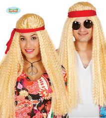 foto hippie figli dei fiori guirca parrucca lunga hippie figli dei fiori carnevale uomo donna