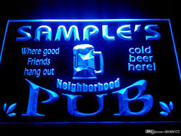 dz008 b name personalized neighborhood home bar pub neon