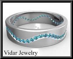 blue diamond wedding rings mens blue diamond wedding band vidar jewelry unique custom