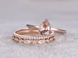 morganite bridal set 3pcs pear shaped solitaire morganite wedding set antique diamond