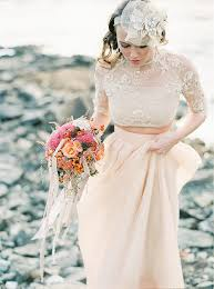 blush wedding dress with sleeves sleeves lace two pieces blush wedding dress