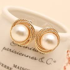 aliexpress buy fashion big size 18k gold plated men fashion seashell rea big pearl earrings stud high quality