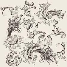 floral swirl ornament design vector 03 free millions