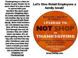 thanksgiving pledge not to shop this for awareness