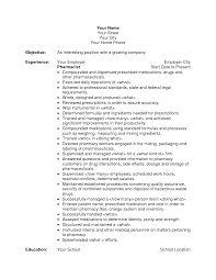 Maintenance Resume Objective Objective Pharmacy Technician Resume Objective