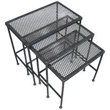 Wrought Iron Mesh Patio Furniture by Set Of Three Vintage 1950s Woodard Wrought Iron Nesting Tables At