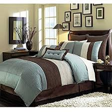 8 pieces beige blue and brown stripe comforter 104