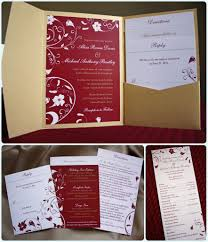 Red Wedding Invitation Cards Red And Gold Tropical Flower Pocketfold Invitations And Programs