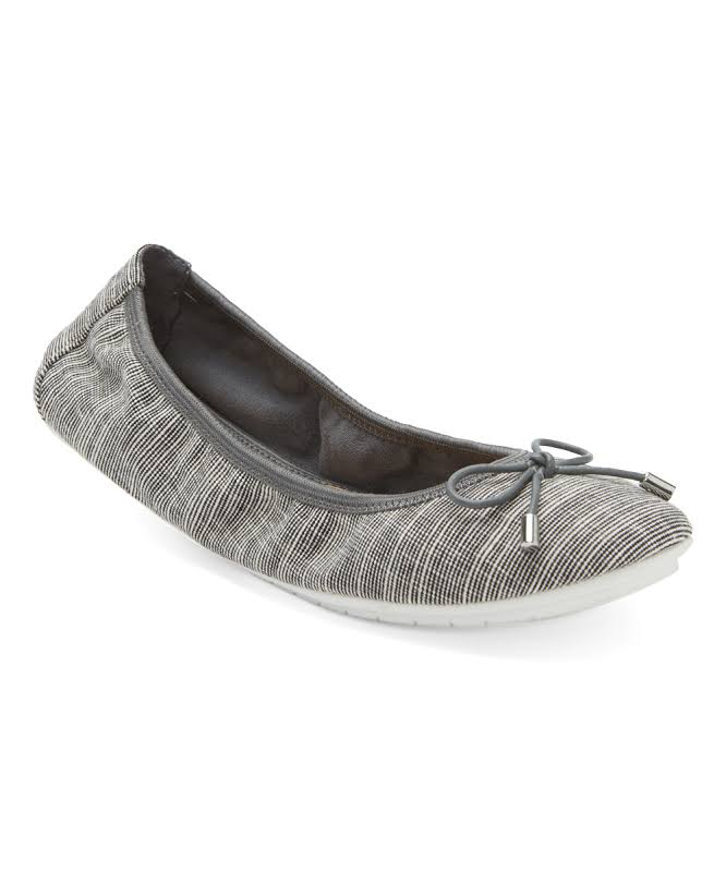 Me Too Halle20 Linen Striped Ballet Flats Gray 10 Medium (B,M)