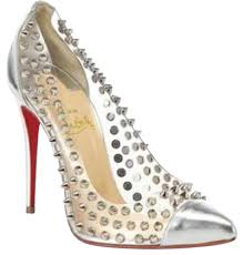 christian louboutin silver spike me metallic pvc clear studded