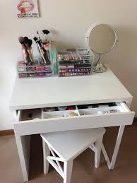 furniture small makeup vanity in white with lighted mirror for