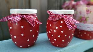 glass jars set of 2 red white polka dots mary engelbreit inspired
