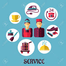 flat icons design for hotel services with bell boy maid and