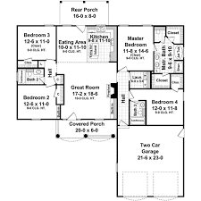4 Bedroom 2 Bath Floor Plans by Traditional Style House Plans 1750 Square Foot Home 1 Story 4