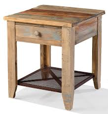 Rustic End Tables Hoot Judkins Pine Rustic Drawer And Iron Mesh Shelf Multi Colord