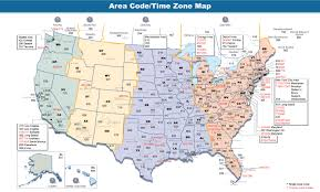 Detailed Map Of The United States by Area Codes And Time Zones Of The United States And Canada 1376 X