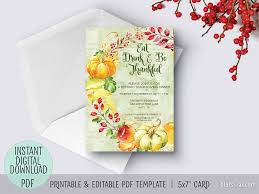 editable pdf thanksgiving invitation template give thanks with