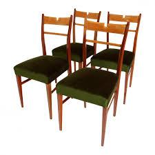 italian wood u0026 green velvet dining chairs 1950s set of 4 for
