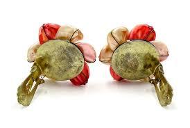earrings hong kong vintage orange pearl petaled flower earrings hong kong