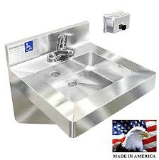 Ada Multistation 2 Users Hand Sink No Lead Electronic Faucet 72 Ada Hand Sink No Lead Electronic Faucet Stainless Steel With Push