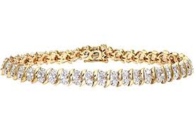 yellow gold bracelet with diamonds images Naava women 39 s 1 ct diamond pave setting 9 ct yellow gold bracelet jpg