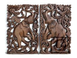 Thai Home Decor by 2 Pcs Teak Wood Thai Hand Carved Home Decor Wall Panel Art