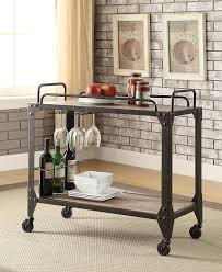 Acme Furniture Amazon Com Acme Furniture Caitlin 98174 Serving Cart Rustic Oak