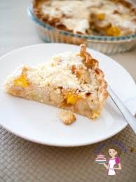 peach tart with crumble topping veena azmanov